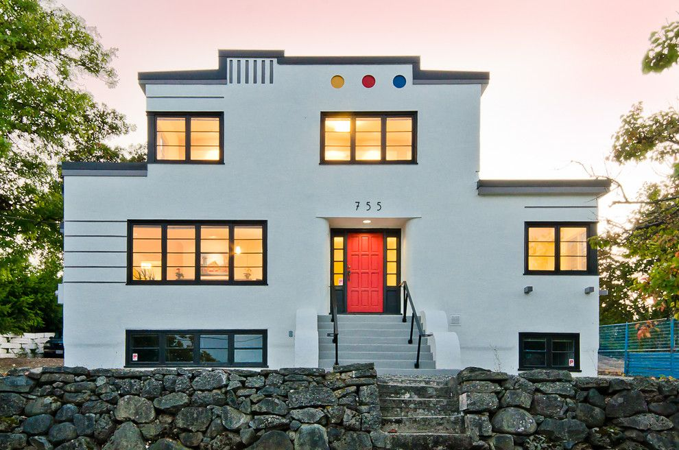 Delightful Art Deco House With Themed Outdoor Wall Signs Exterior Contemporary And  Black Trim