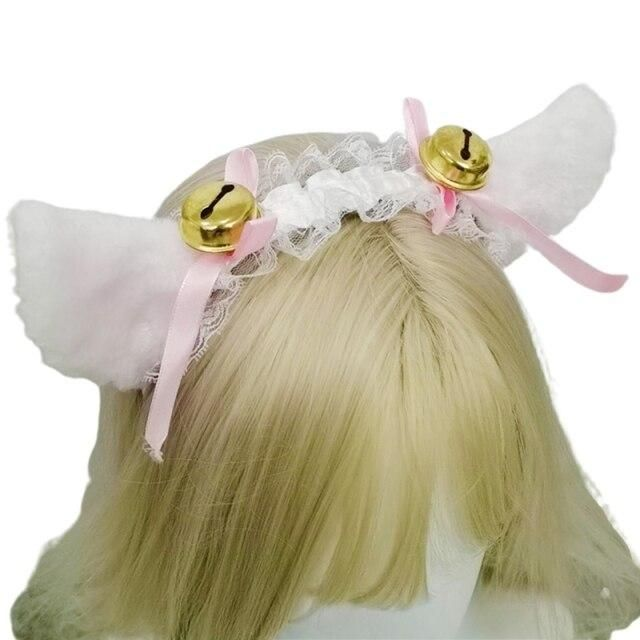 Photo of Women Girls Ruffles Lace Faux Silk Headband Cute Plush Cat Ears Ribbon Tassels Bell Decor Hair Hoop Lolita Anime Cosplay – D