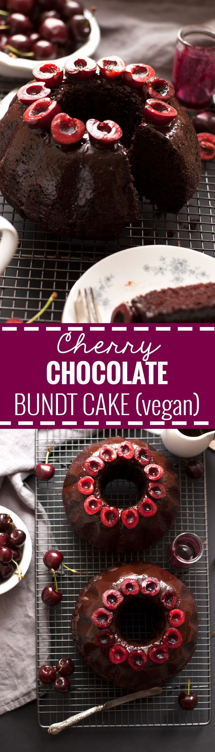 Cherry Chocolate Bundt Cake. Super soft, moist and delicious cake, 100% vegan and dairy free! Recipe from: http://annabanana.co/