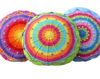 Crochet Tutorial Round Pillow SUNRISE Cushion With Crochet Application incl. Sewing instructions PDF