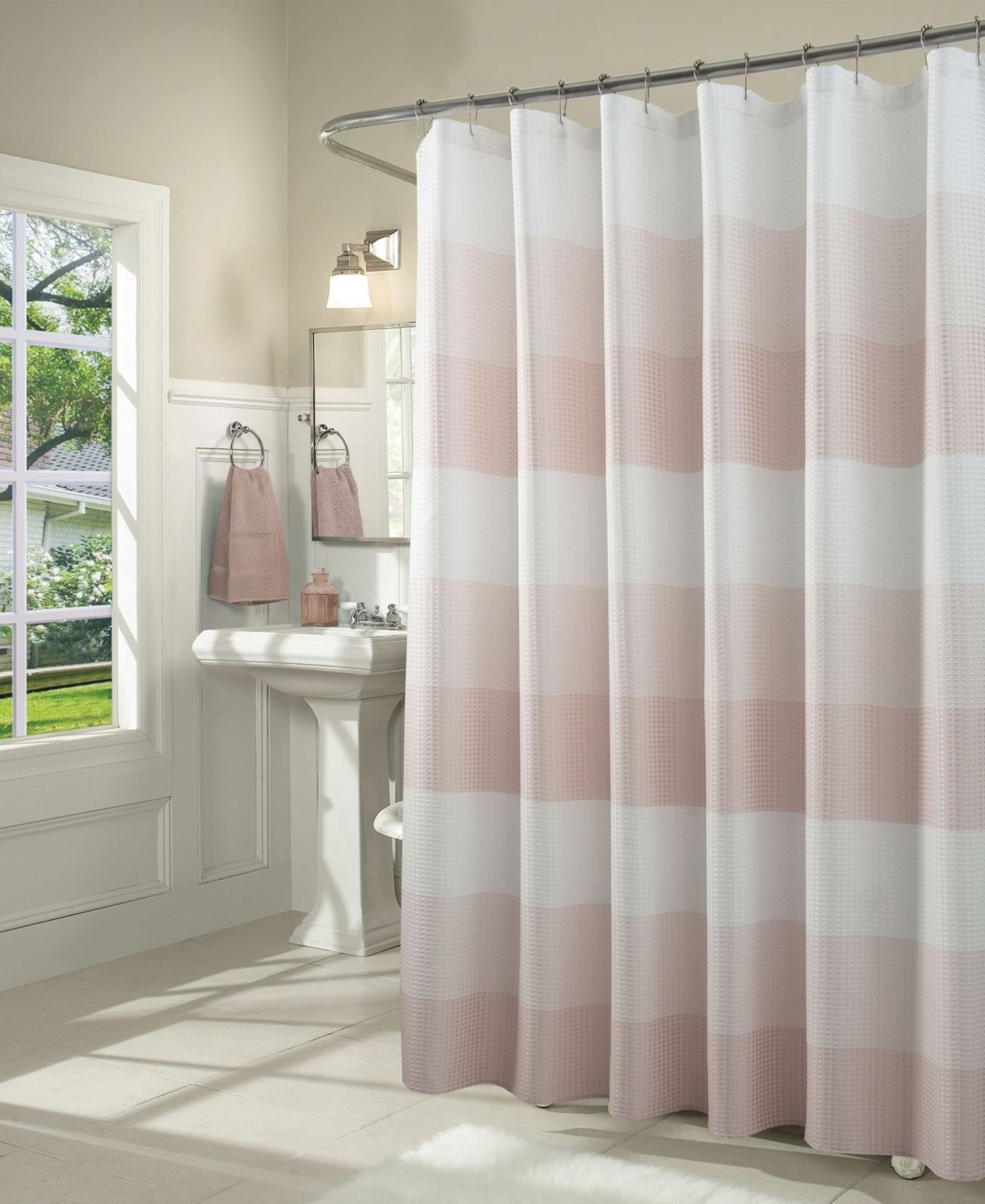Spa 251 Ombre Waffle Striped Shower Curtain Reviews Shower