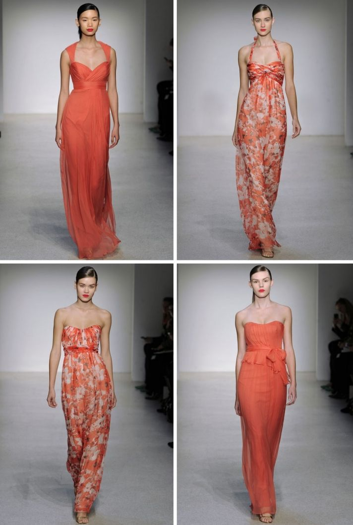 Bridesmaids in coral? Yes please! Love these @AmsaleBridal mix n match bridesmaid dress options.