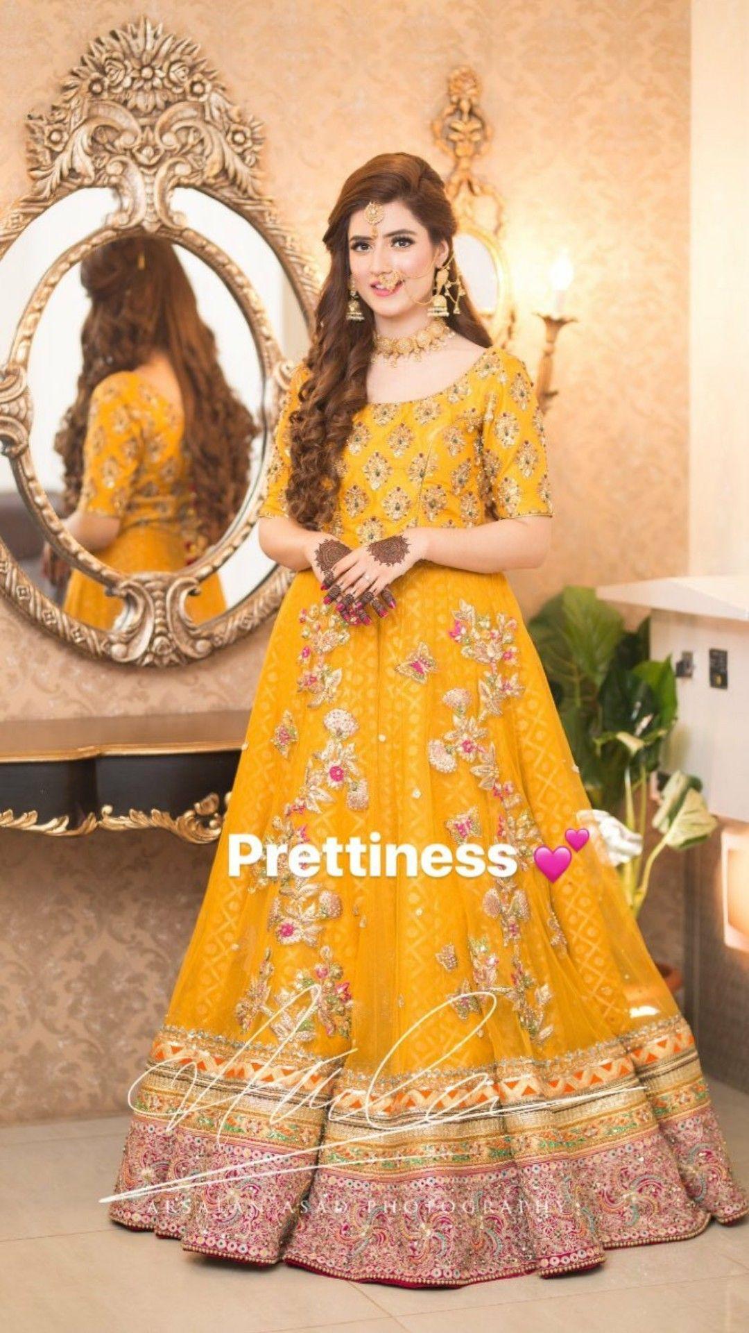 Pretty orange yellow mayoon or mehndi gown in 2019