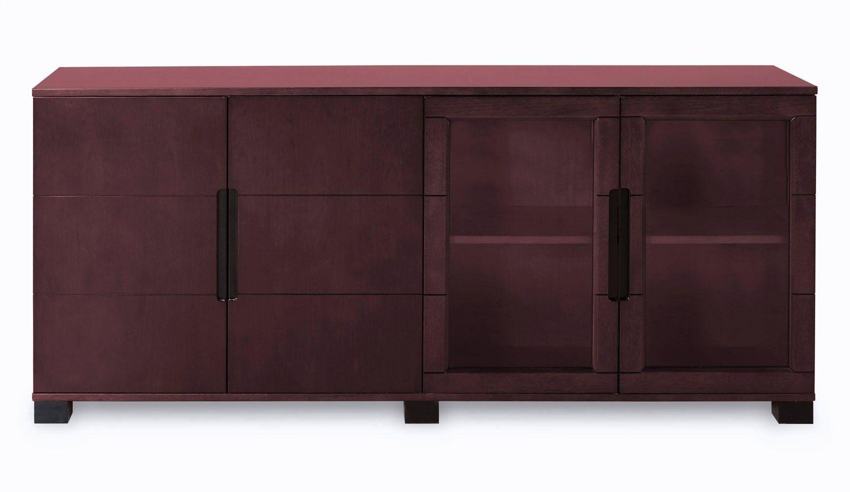 Hayes Modern Cabinet Mahogany With Gl Doors Zuri