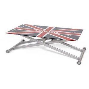 Table Up & Down plateau verre trempé sérigraphié - L110xl60xH35.5/72.5cm  Brady