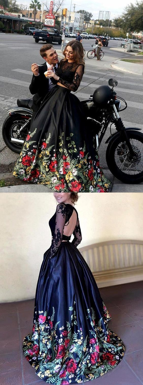 Two piece round neck long sleeves black floral satin prom dress with