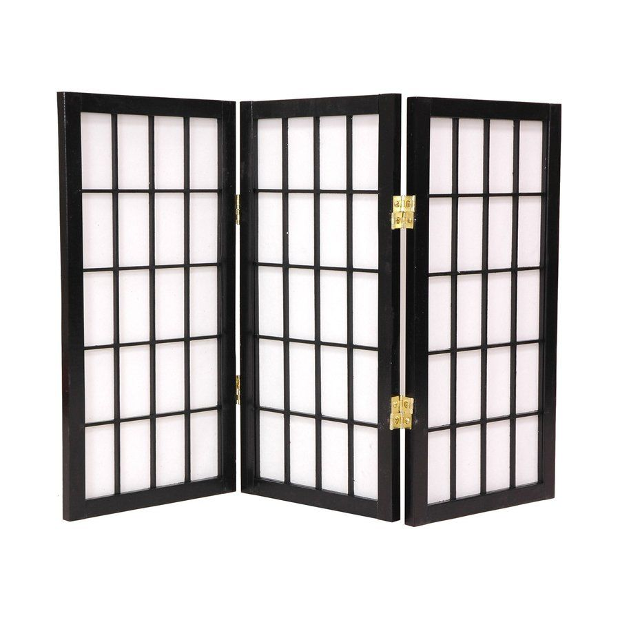 Oriental Furniture Desktop Window Pane 3 Panel Black Wood And Paper Folding  Indoor Privacy Screen