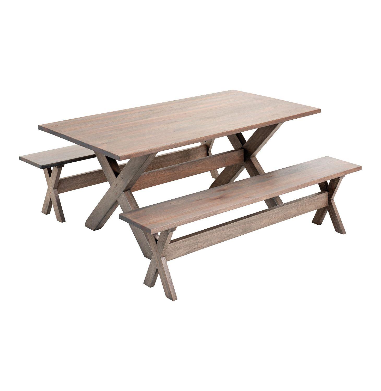 3 piece inyati wooden bench set greige lowest prices specials online makro