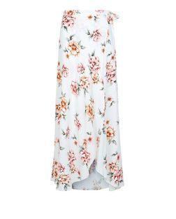 white floral print wrap front maxi skirt new look