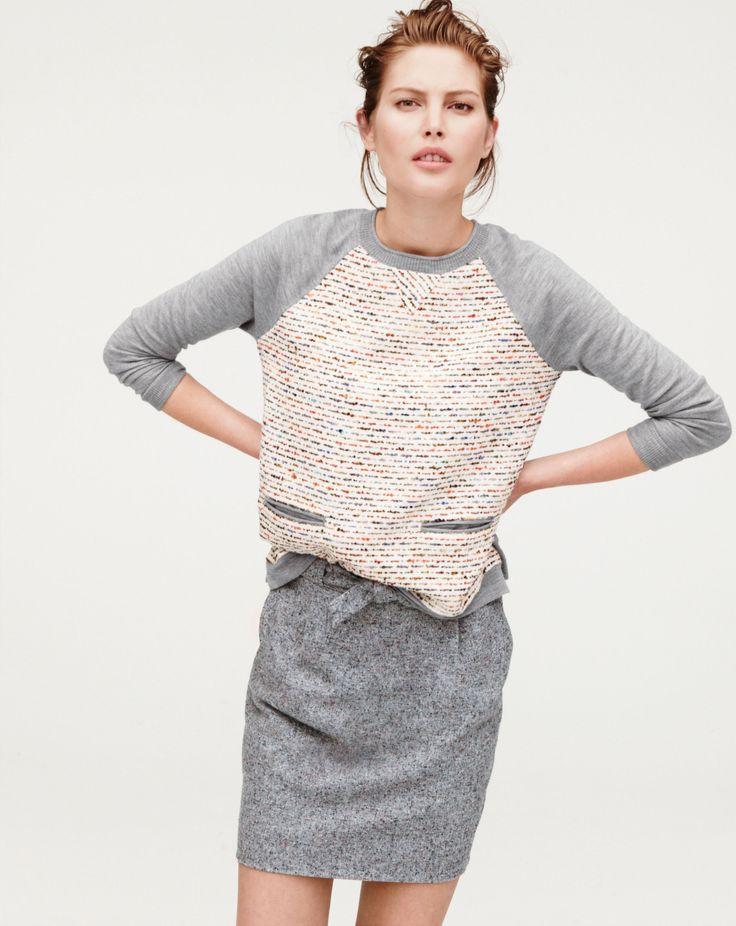 J.Crew tweed-front merio sweater in graphite.