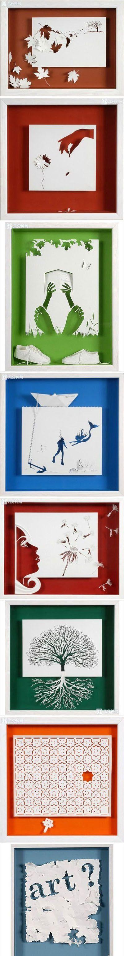 GAAFFff: knipwerk in een 3D schilderij http://www.pinterest.com/origamitwist/clever-paper-crafts/ Cool Paper Art | DIY  Crafts