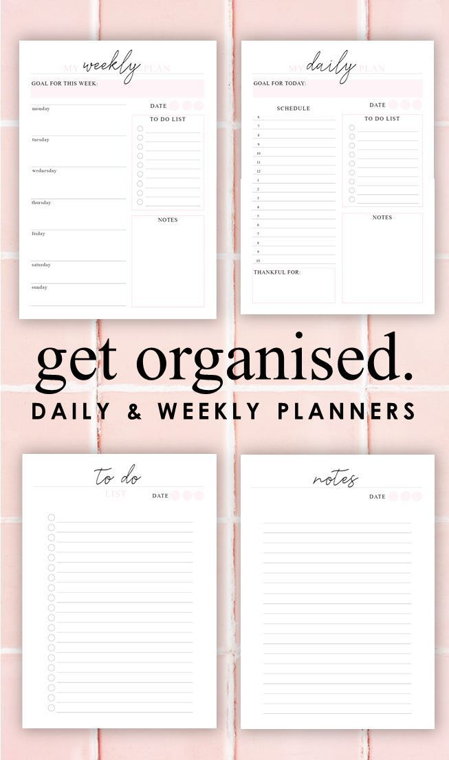 Daily  Weekly Printable Planner Blush Pink Productivity Planner