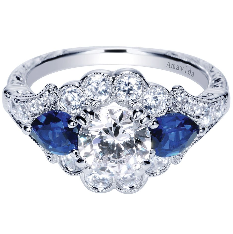 Sapphires add a modern twist to this amavida engagement ring this
