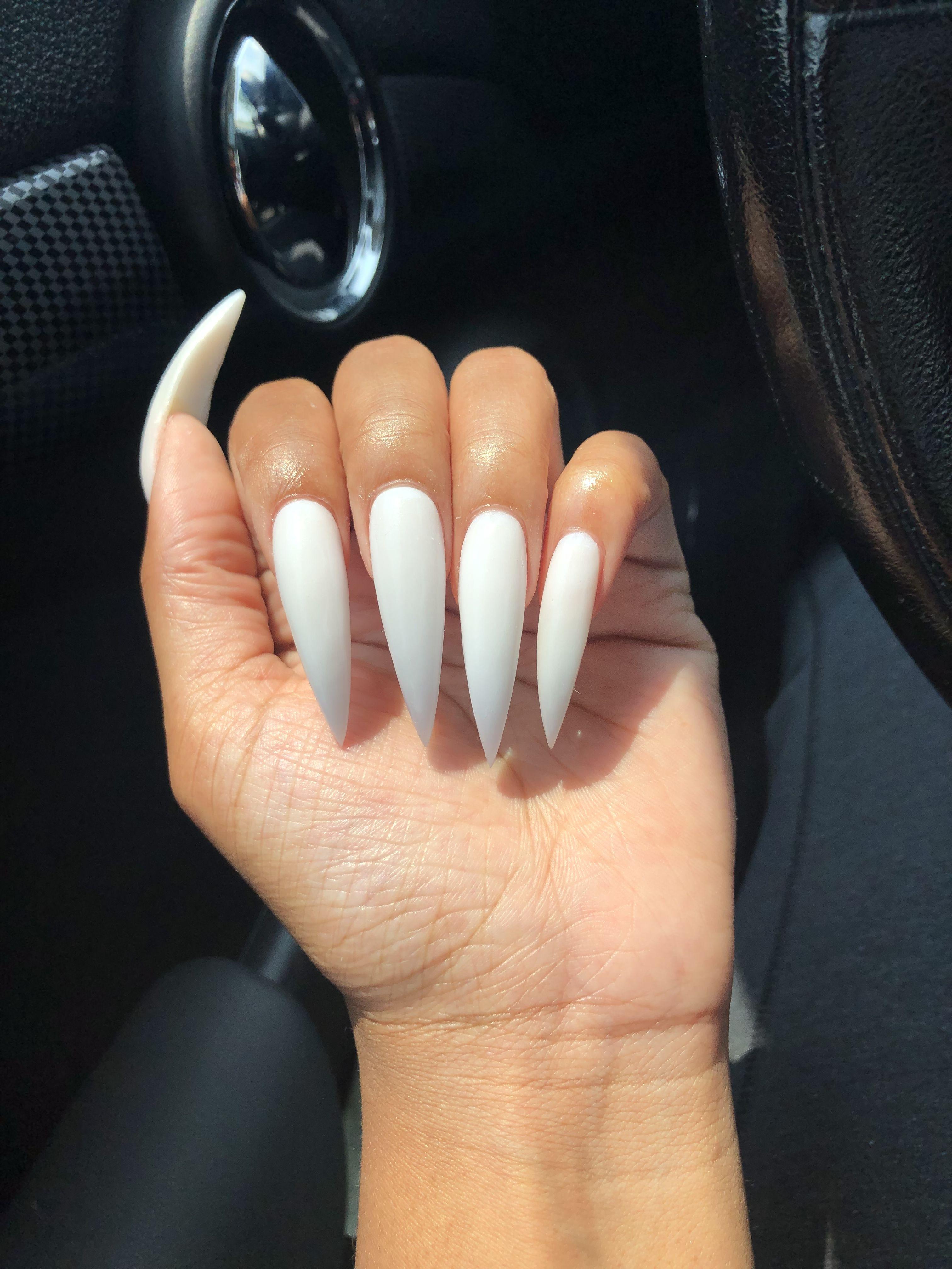Long White Acrylic Nails White Acrylic Nails Acrylic Nails Stiletto White Stiletto Nails
