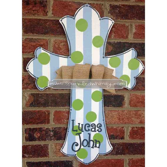 Monogrammed Striped & Polkadot Cross Door Hanger by Sparkled Whimsy, Children  Housewares  Sign  door decor  door decoration  door hanger  cross  Sparkled Whimsy  painted cross  porch decor front door  monogrammed cross  wood cross  shower decoration  monogram door  baby door