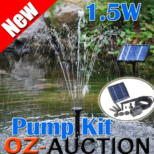 Solar Power Fountain Pond Pool Water Feature Pump KIT 3 Different Fountain Heads | eBay $30 inc delivery