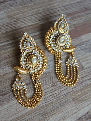 Earrings Golden Long Traditional With Polki Pearl Work Swetasutariya