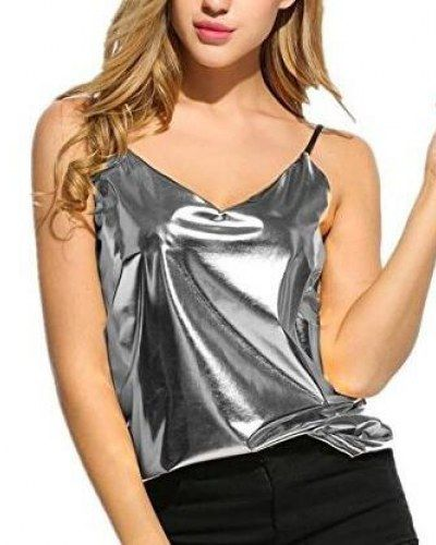 1df71bf971 Shiny silver cami top v neck style for women