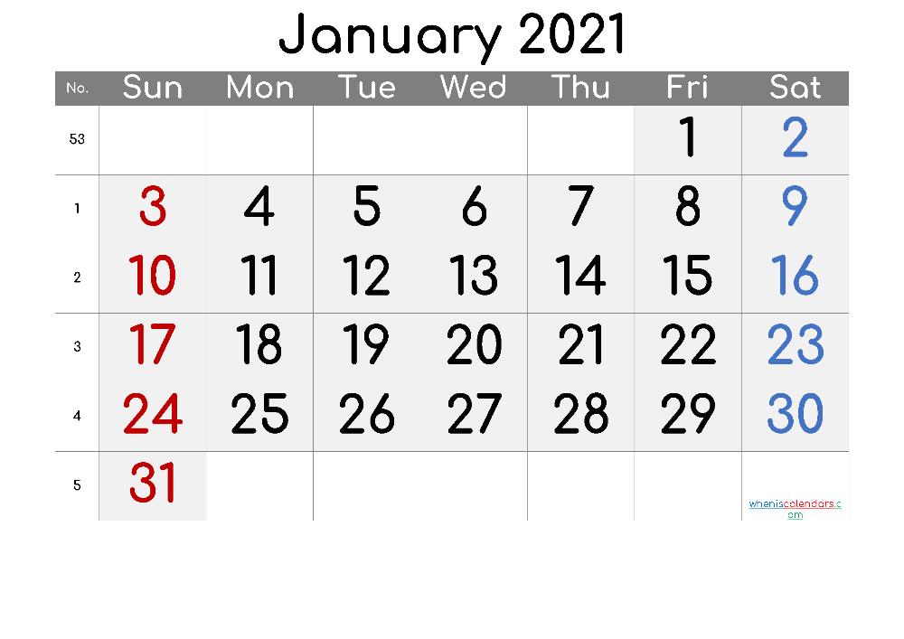 Free January 2021 Calendar - 6 Templates in 2020 | 2021 ...