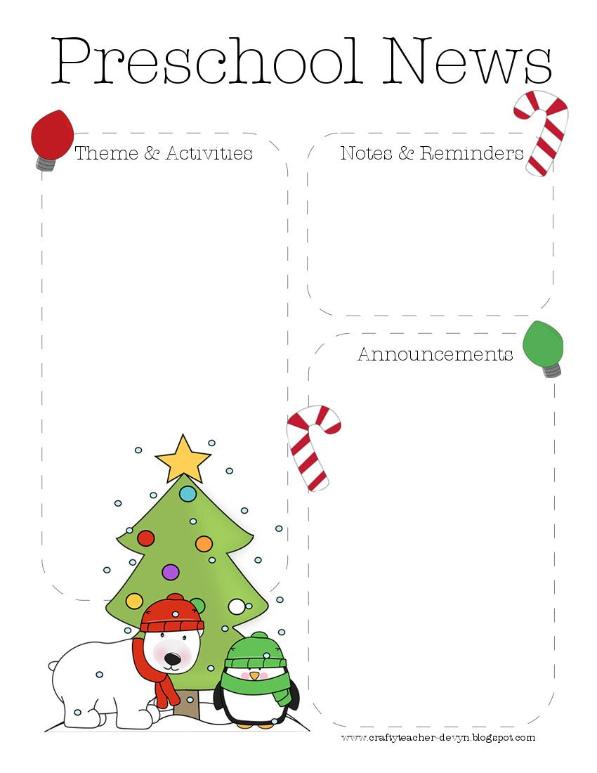The Crafty Teacher Christmas Preschool Newsletter Template