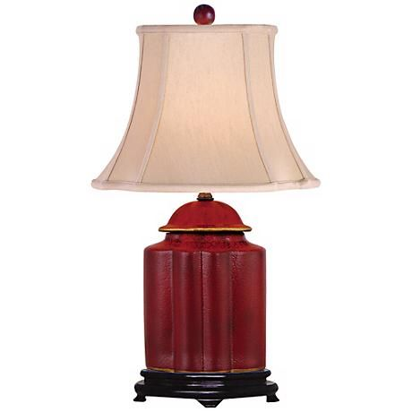 Red Lacquer Scallop Tea Jar Table Lamp N1951 Lamps Plus In 2020 Jar Table Lamp Antique Lamp Shades Lamp