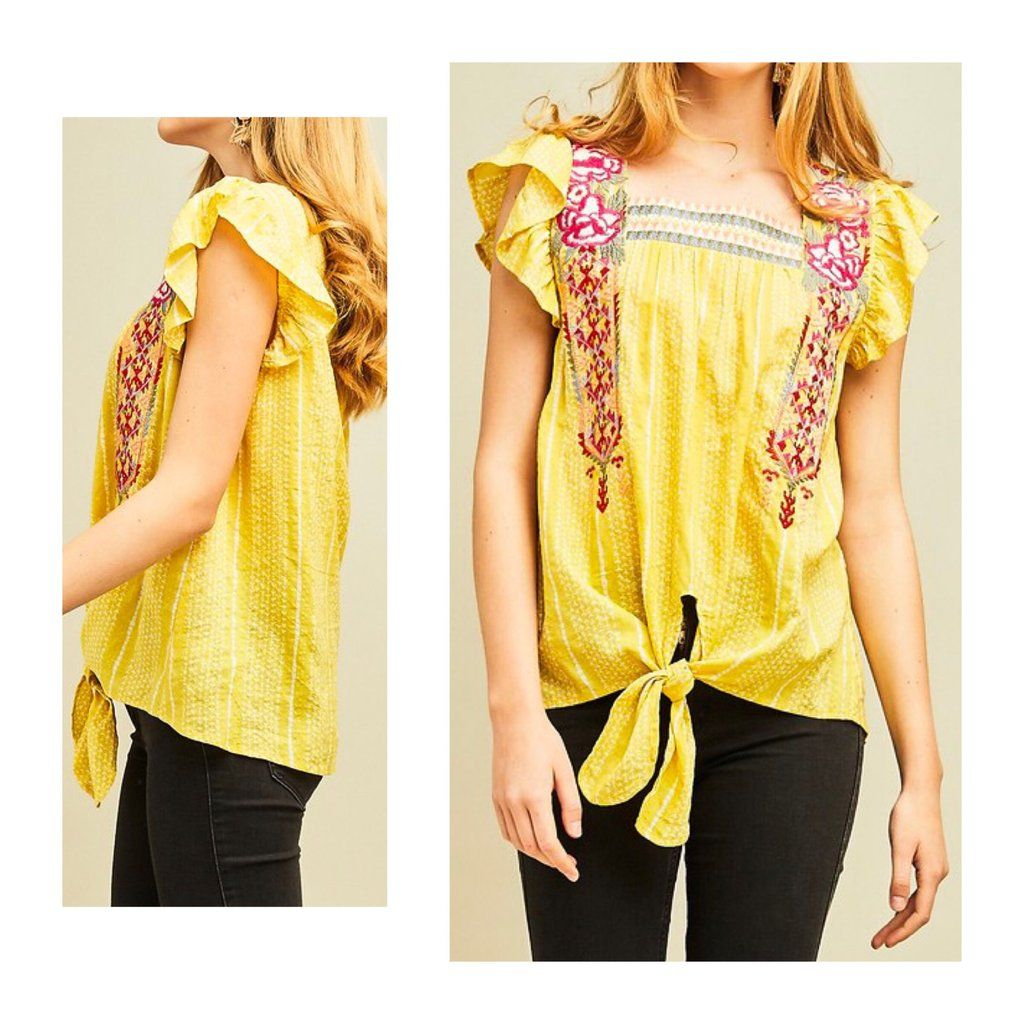 b9b381bcd3bf3d Yellow Embroidered Tie Front Ruffle Sleeve Top in 2019 | Tops ...