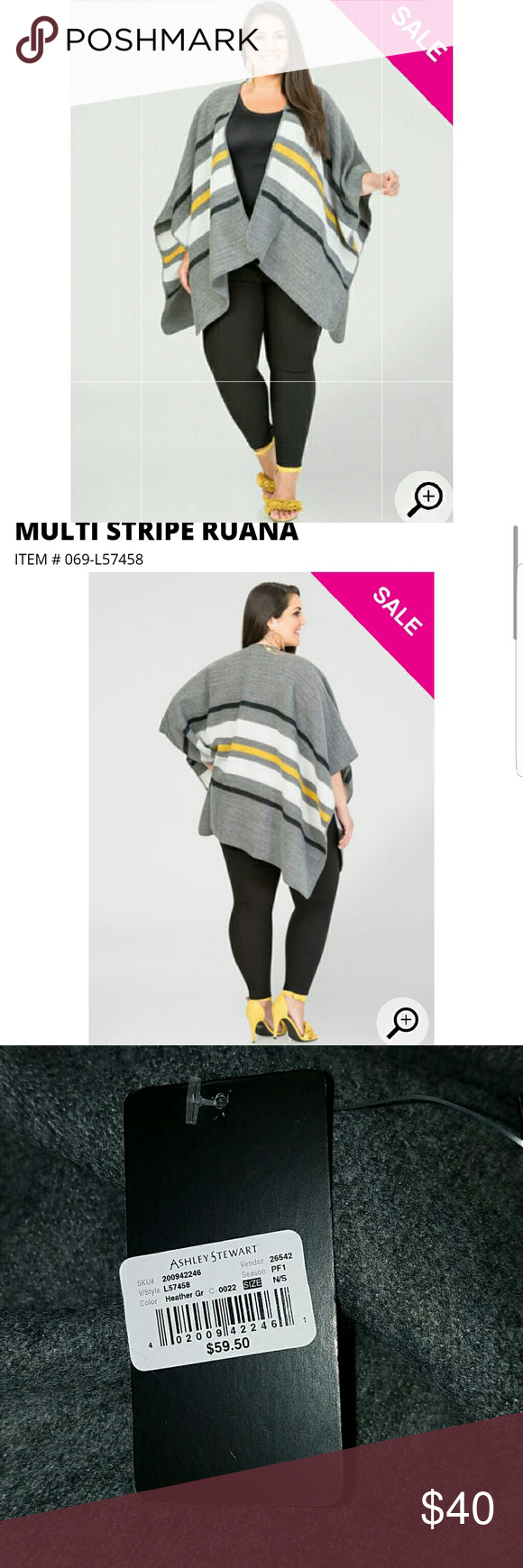 Poncho Cozy up in this chic ruana. Pair it with dark wash skinnies, a basic cami & bold accessories for a fab look worth talking about. One size. Acrylic. Hand wash cold. Do not bleach. Lay flat to dry. Imported. Ashley Stewart Sweaters Shrugs & Ponchos