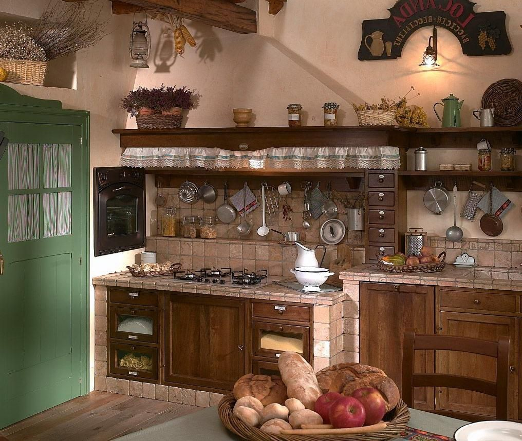 Custom Small Rustic Kitchen Design With Ceramic Backsplash