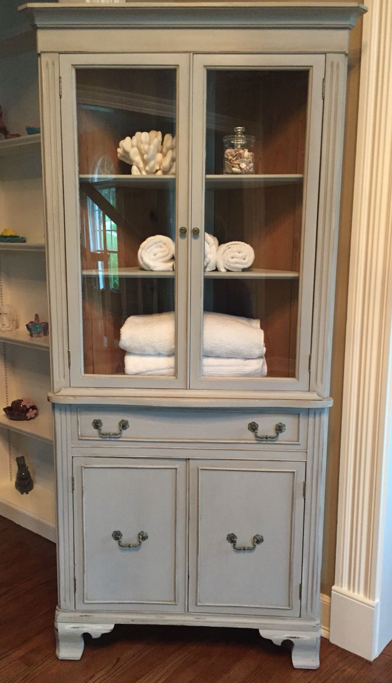 Best Shabby Chic Vintage Corner Cabinet Painted With As Paris 400 x 300
