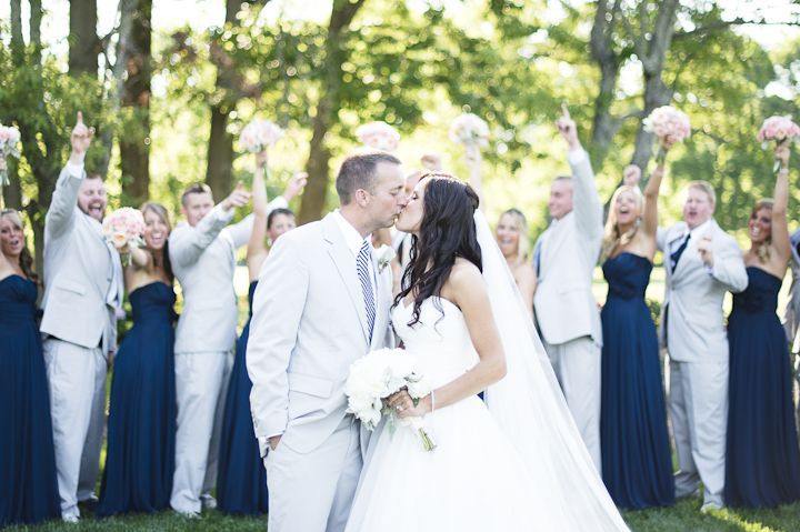 Bridal Party - Navy Bridesmaids with Grey Suits