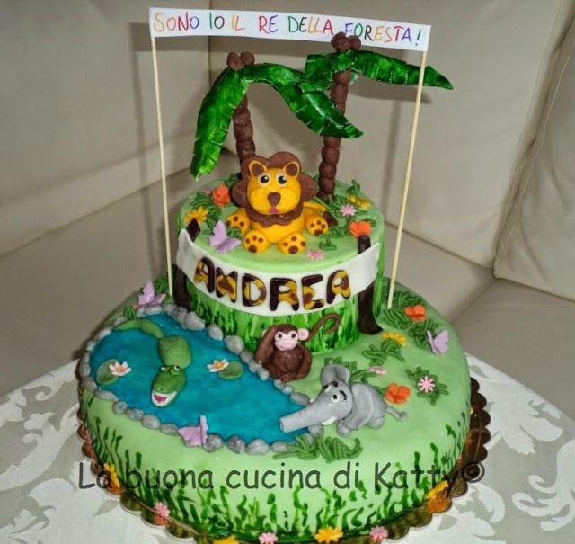 La buona cucina di katty torta animali della giungla - Colorazione pagina della torta di compleanno ...