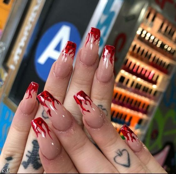Flames Nails I Love This Too 50 Design Fire Nails Cute Nails Nail Designs