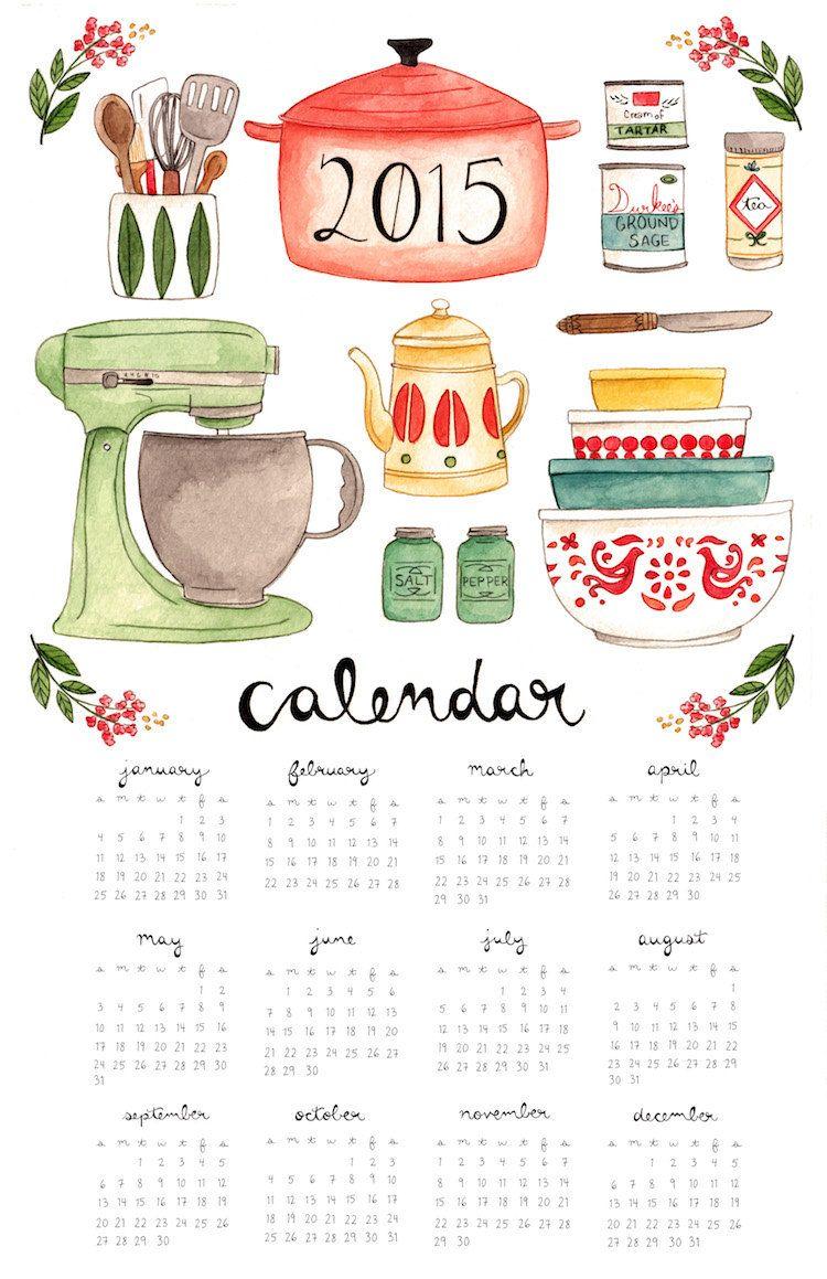 Kitchen Calendar 2015 by thelittlecanoe on Etsy | Printables ...