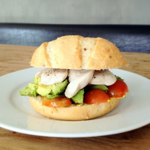 Chicken, avocado and tomato sandwich
