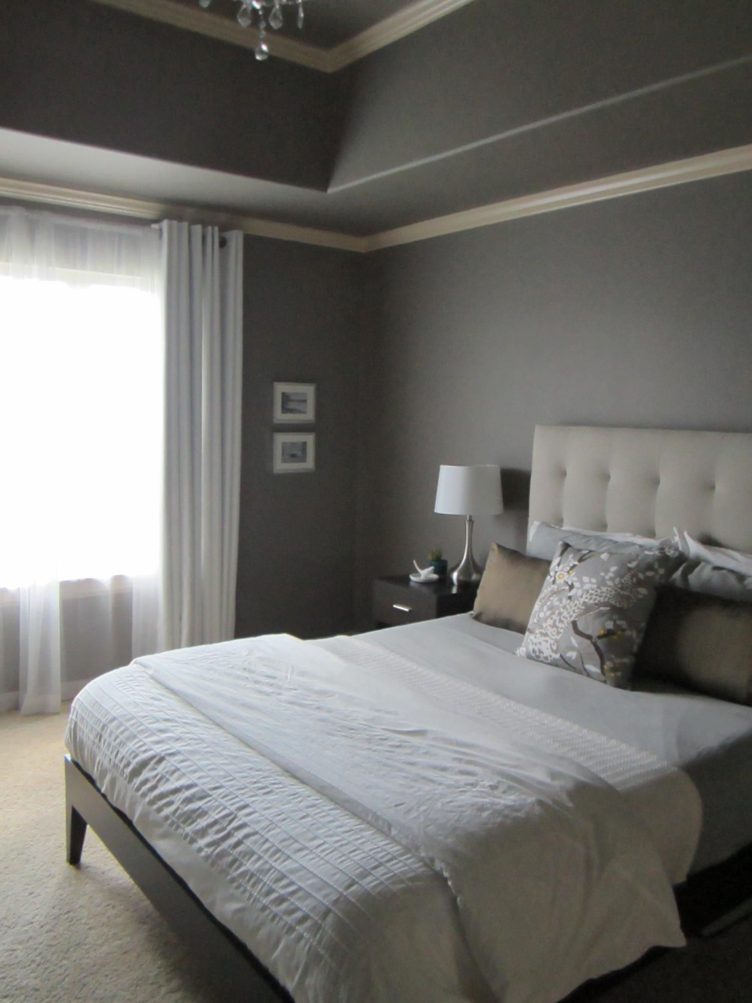 Restoration hardware bedroom furniture - Painted Master Bedroom With Restoration Hardware Slate Paint Color West Elm Headboard Dwell Accent