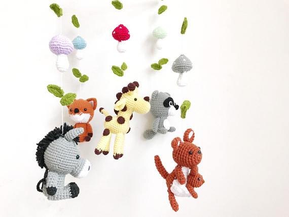 Amigurumi Sheep Baby Mobile : Woodland mobile forest animal mobile baby mobile forest crochet