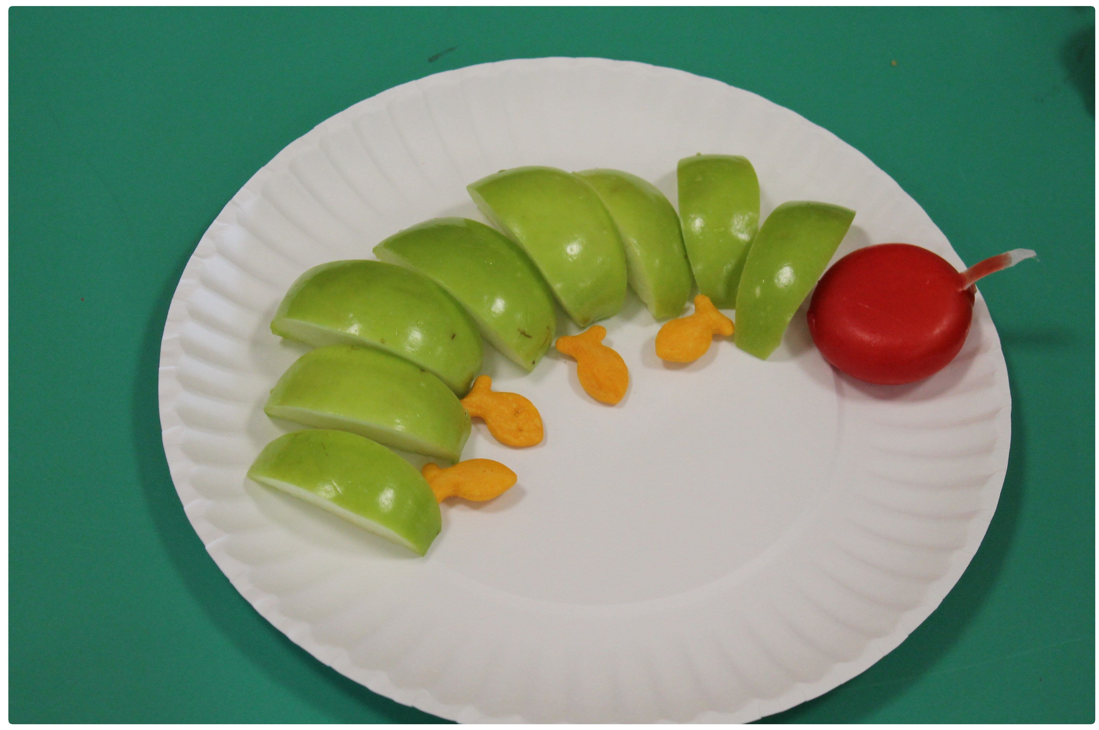 The Very Hungry Caterpillar Snack - green apples, goldfish