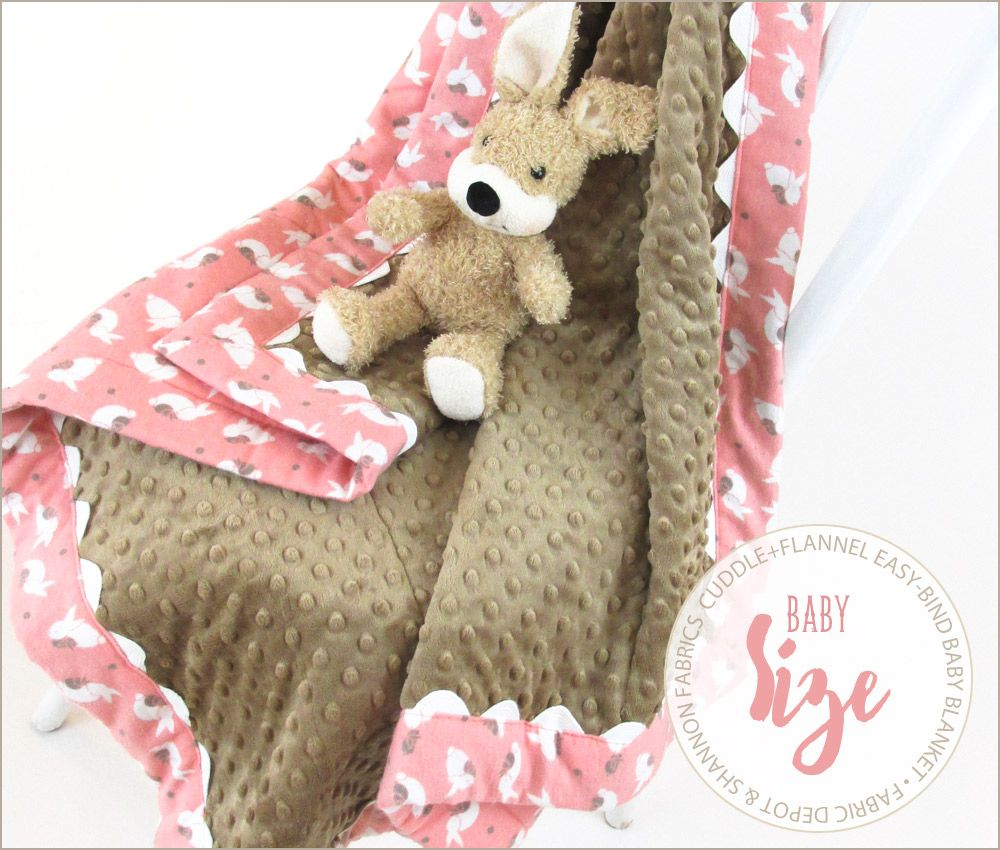 Cuddle flannel baby blanket with easy binding fabric depot
