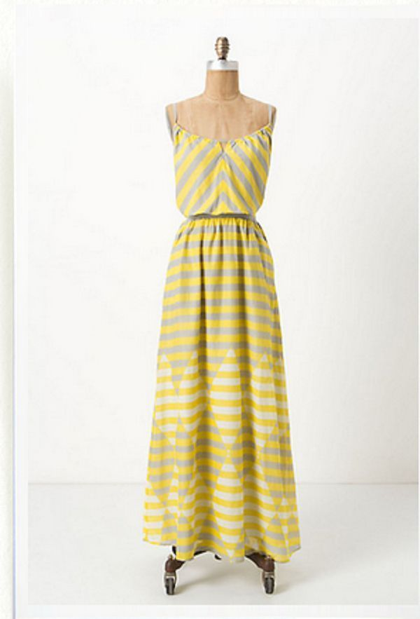 a29407543b New Anthropologie Diamond Rays Maxi Chemise Dress by Lilka Yellow Gray  Small 4 6  Anthropologie  Sundress  Casual