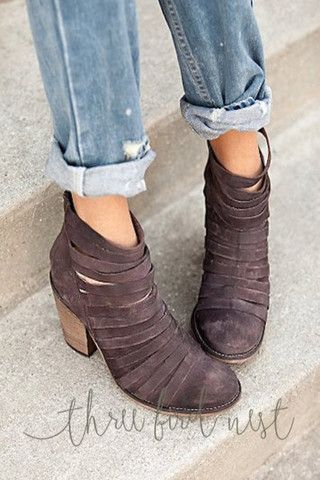 Strappy Weekender Heel Booties {Choose Color} by Three Bird Nest   Bohemian Clothing