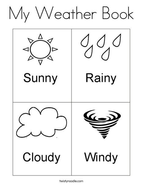 My Weather Book Coloring Page Weather Worksheets Weather Books Weather Crafts