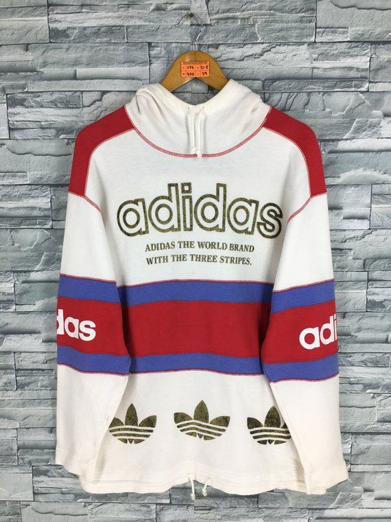 9fbe9c5a00f Vintage ADIDAS Sweatshirt Medium Adidas Sportswear Run Dmc 80s Three  Stripes Crewneck Jumper Adidas