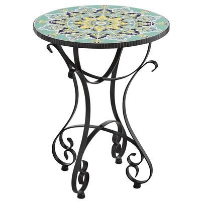 Emilio Accent Table Teal Outdoor Accent Table Mosaic Accent Table Mosaic Outdoor Table