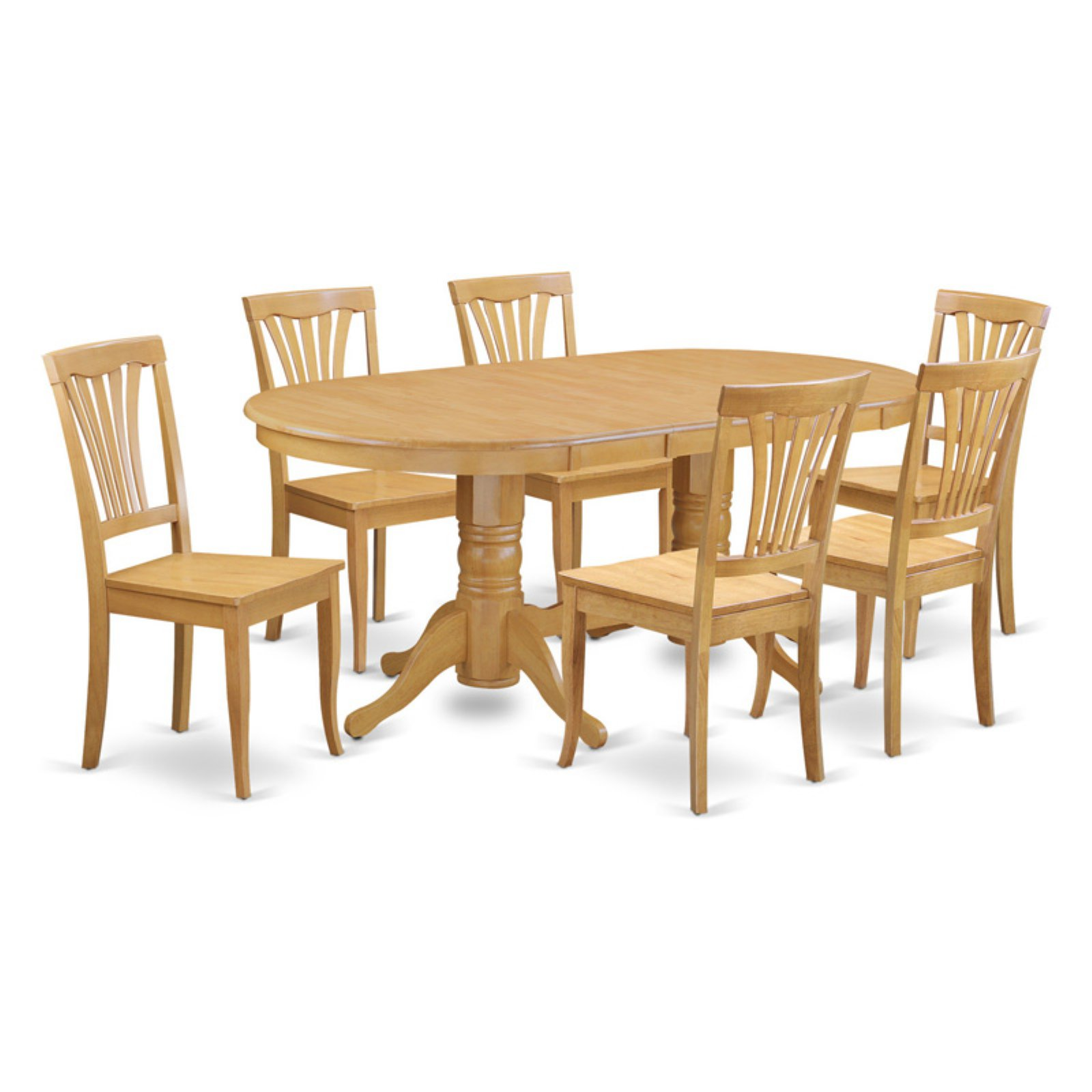 East West Furniture Vancouver 7 Piece Lath Back Dining Table Set