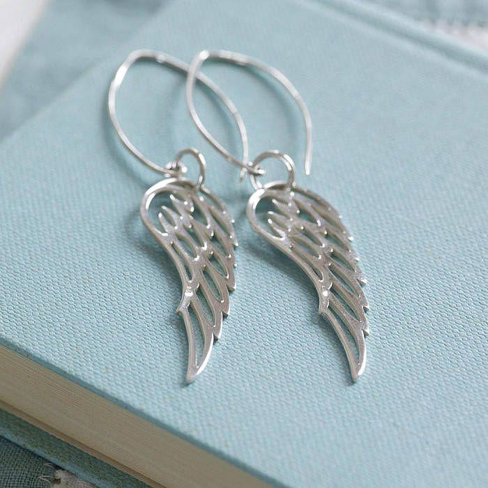 64d3476edf102e Sterling Silver Angel Wing Earrings | Present | Angel wing earrings ...