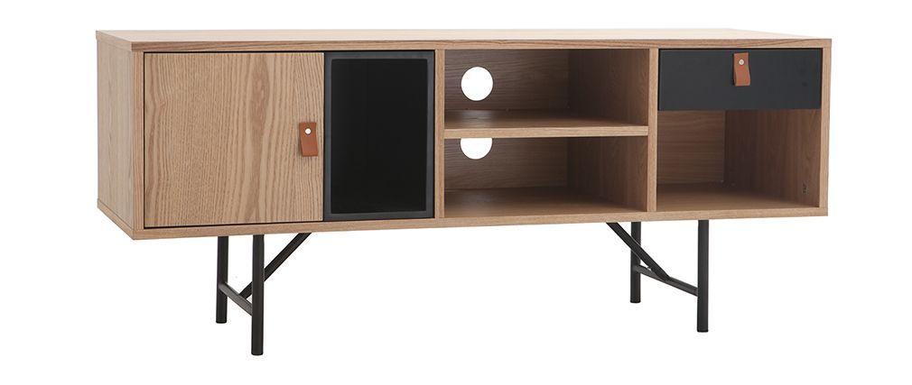 Meuble Tv Design Bois Chene Et Noir Ofici Meuble Tv Design Meuble Tv Meuble