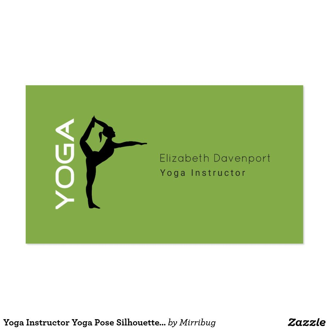 Yoga Instructor Yoga Pose Silhouette on Green Back Business Card ...