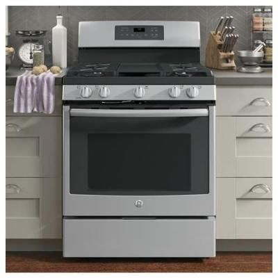 ddcb9e4bce1 GE 5.0 cu. ft. Gas Range with Self-Cleaning Convection Oven in Stainless  Steel-JGB700SEJSS - The Home Depot