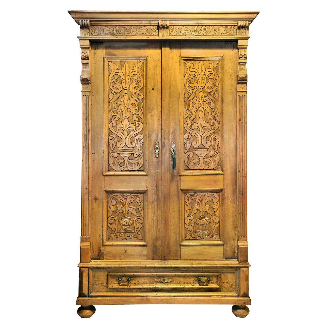 Large Antique Pine Armoire Wooden Designer