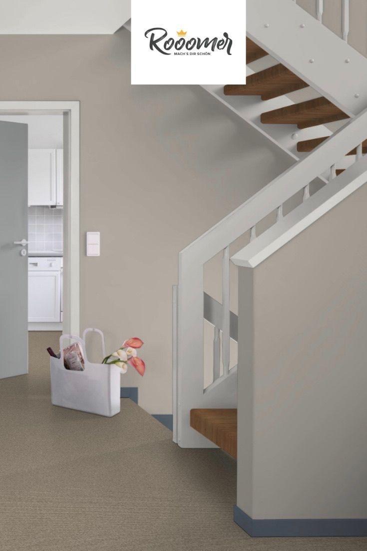 Treppenhaus In Der Wandfarbe Warm Grey Wandfarbe Flur Wandfarbe Wandfarbe Farbtone